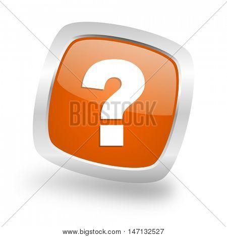 question mark square glossy orange chrome silver metallic web icon