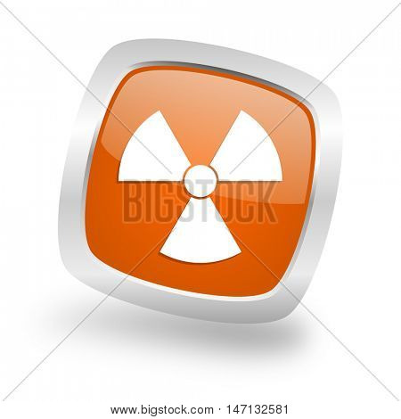 radiation square glossy orange chrome silver metallic web icon