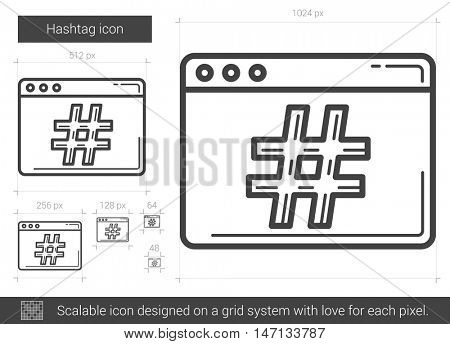 Hashtag vector line icon isolated on white background. Hashtag line icon for infographic, website or app. Scalable icon designed on a grid system.
