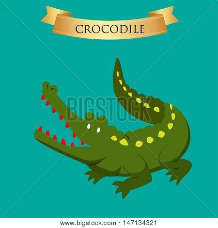 Big green crocodile on a blue background. Vector illustration