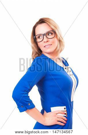 Portrait of a woman in glasses and blue dress isolated on white background