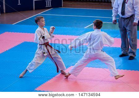 Orenburg, Russia - 28 November 2015: Boys Compete In Karate