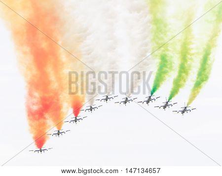Leeuwarden, The Netherlands-june 10, 2016: Italian Aerobatic Team Frecce Tricolori (tricolor Arrows)