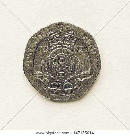 Vintage Uk 20 Pence Coin