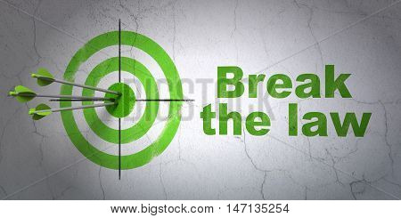 Success law concept: arrows hitting the center of target, Green Break The Law on wall background, 3D rendering