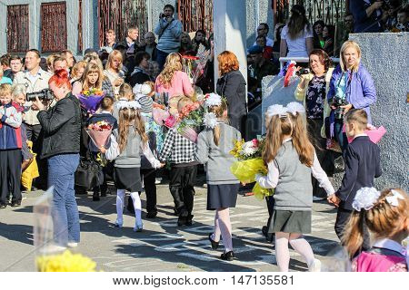 St. Petersburg, Russia - 1 September, First-graders walking to school,1 September, 2016. School holiday the Day of Knowledge.