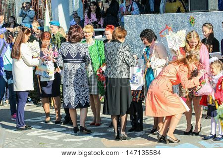 St. Petersburg, Russia - 1 September, Handing the keys to first-graders from the school,1 September, 2016. School holiday the Day of Knowledge.
