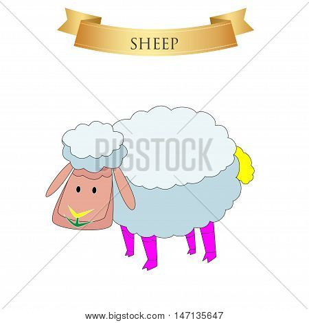 Big sheep on a white background. Vector illustration