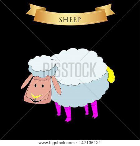 Big sheep on a black background. Vector illustration
