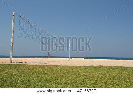 Beach Volley Ball net in sunny day beach