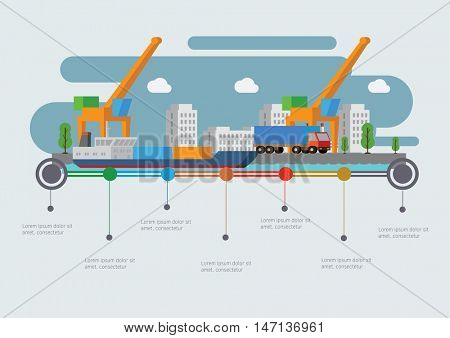 Sea Port With a Ship. Infographic time line. Industry and transportation concept. Vector illustration