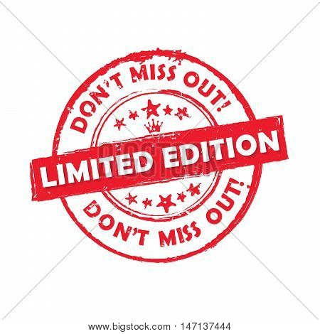 Limited edition Don't miss out! - grunge red label / badge / sticker, also for print
