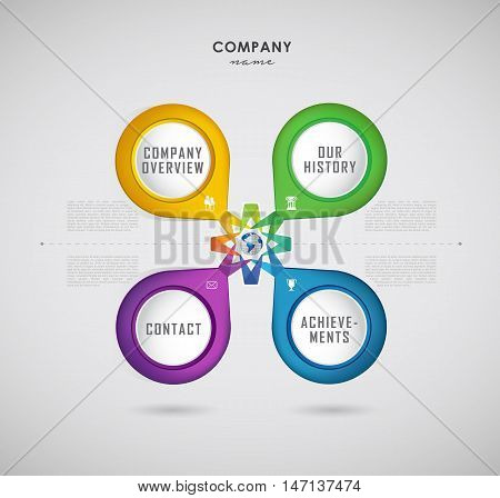 Company infographic overview design template with four colorful labels and icons.