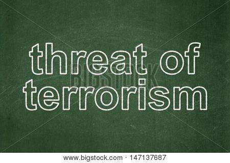 Politics concept: text Threat Of Terrorism on Green chalkboard background