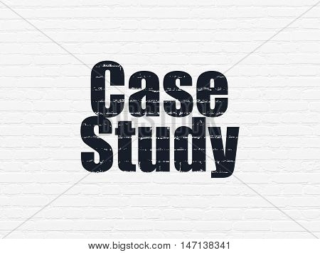 Learning concept: Painted black text Case Study on White Brick wall background
