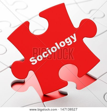 Education concept: Sociology on Red puzzle pieces background, 3D rendering