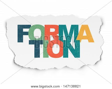 Education concept: Painted multicolor text Formation on Torn Paper background
