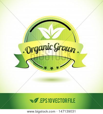 Organic grown badge label seal text tag word stamp logo design green leaf template vector eps