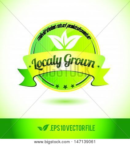 Localy grown badge label seal text tag word stamp logo design green leaf template vector eps