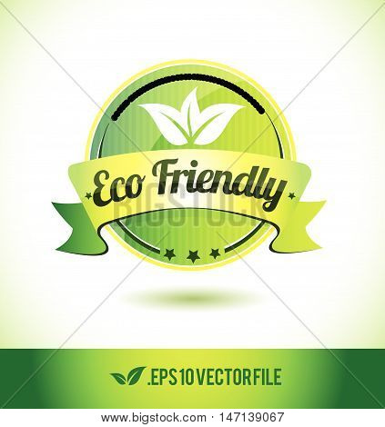 Eco friendly badge label seal text tag word stamp logo design green leaf template vector eps