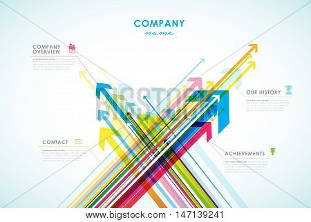Company infographic overview design template with arrows and icons.