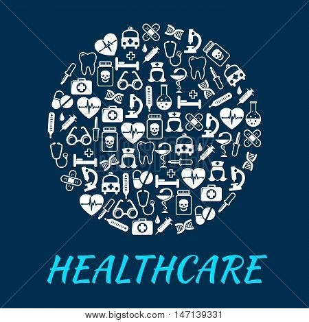 Healthcare medical poster with medication icons emergency, ambulance, syringe, nurse, dropper, pill, ointment, x-ray, stethoscope Hospital infographic banner