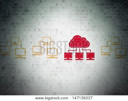 Cloud networking concept: row of Painted yellow lan computer network icons around red cloud network icon on Digital Data Paper background