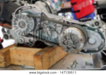 blur image belt engine remove the engine assembly kit motorcycle. gear engine assembly motorcycle