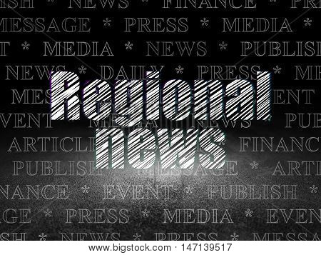 News concept: Glowing text Regional News in grunge dark room with Dirty Floor, black background with  Tag Cloud