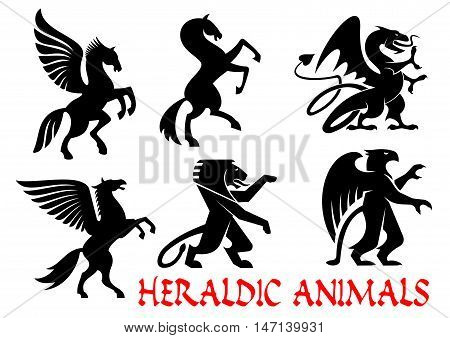 Heraldic mythical animals icons. Vector silhouette emblems. Griffin, Dragon, Lion, Pegasus, Horse heraldry for tattoo, shield insignia