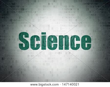 Science concept: Painted green word Science on Digital Data Paper background
