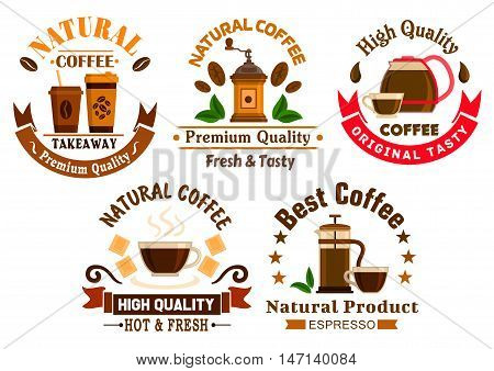 Coffee icons for cafe signboards. Coffee pitcher, coffee maker, mill, tea cup, kettle, french press, white chocolate, stars and ribbons. Template for cafeteria menu, fast food poster, delivery placard