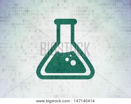 Science concept: Painted green Flask icon on Digital Data Paper background