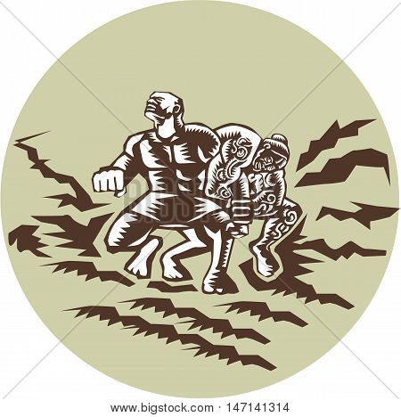 Illustration of Samoan legend Tiitii wrestling the God of Earthquake and breaking his arm set omsode circle done in retro woodcut style.