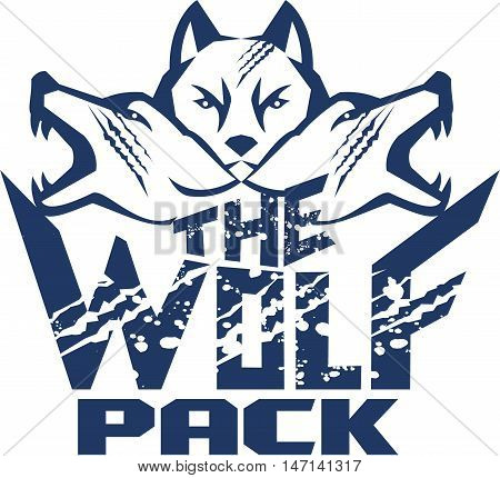Illustration of a pack of wolf heads viewed from front set on isolated white background with the text words The Wolf Pack done in retro style.