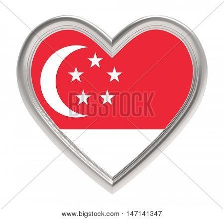 Singaporean flag in silver heart isolated on white background. 3D illustration.