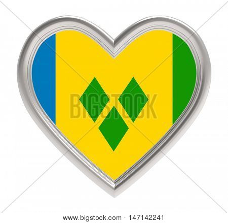 Saint Vincent and the Grenadines flag in silver heart isolated on white background. 3D illustration.