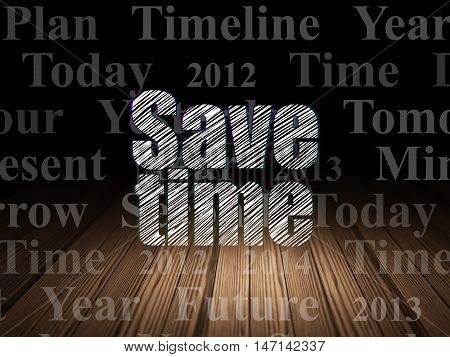 Time concept: Glowing text Save Time in grunge dark room with Wooden Floor, black background with  Tag Cloud