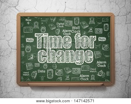 Timeline concept: Chalk White text Time for Change on School board background with  Hand Drawing Time Icons, 3D Rendering