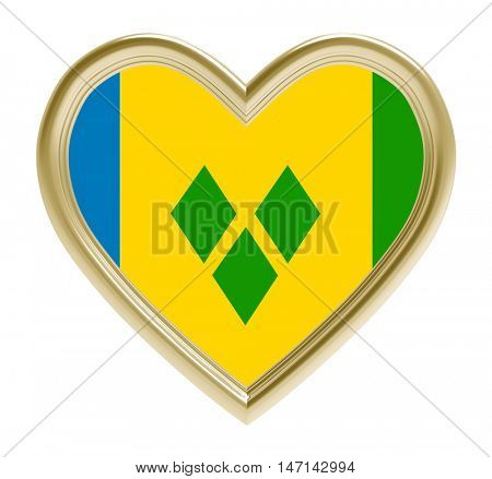 Saint Vincent and the Grenadines flag in golden heart isolated on white background. 3D illustration.