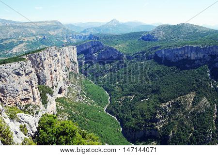 panorama overviewing the gorges du verdon, france
