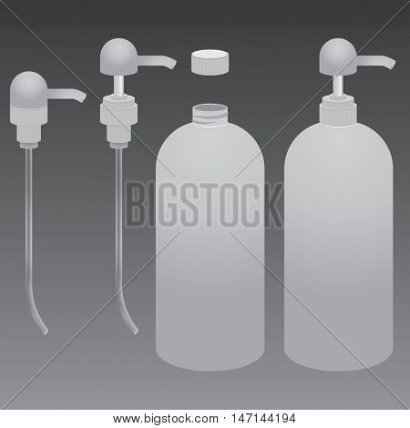 Plastic bottle with grey dispenser pump transparent on grey background. Beauty product package.