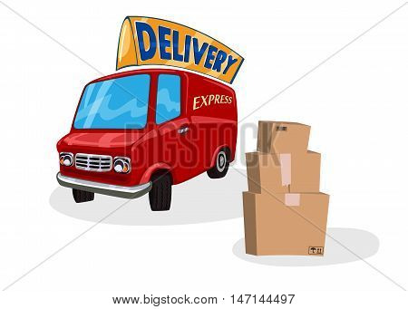 Cartoon Delivery Van. Fast shipping concept. Delivering services or express red truck. Vector illustration isolated on white background.
