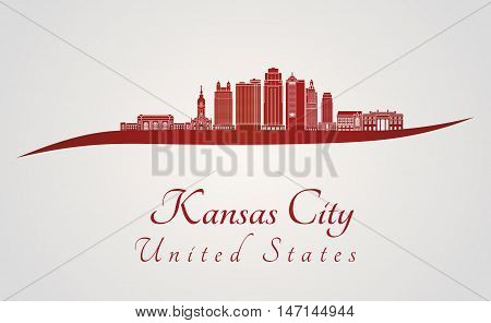 Kansas City skyline in red and gray background in editable vector file