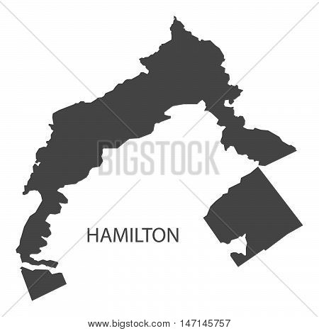 Hamilton Bermuda Map in grey vector high res