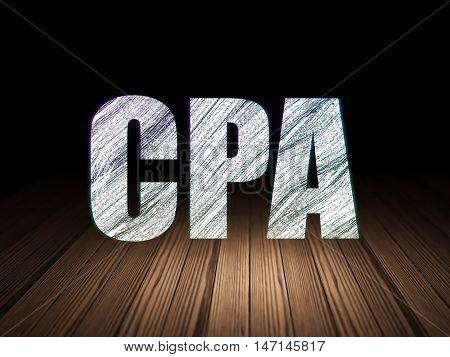 Finance concept: Glowing text CPA in grunge dark room with Wooden Floor, black background