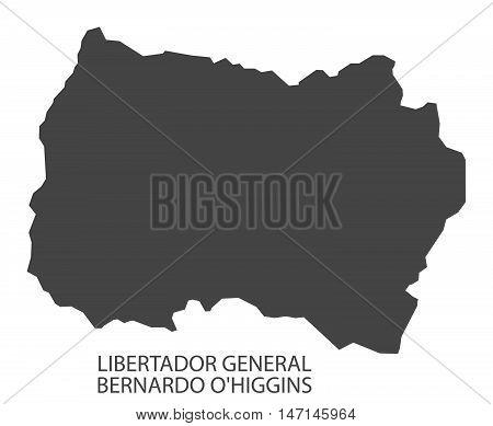 Libertador General Bernardo O Higgins Chile Map in grey
