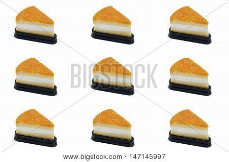 Foy Thong Chiffon Cake Isolated On White Background Many Pieces