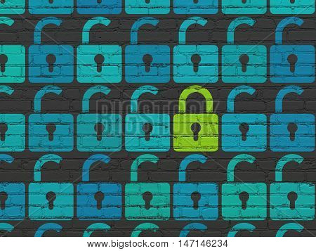 Safety concept: rows of Painted blue opened padlock icons around green closed padlock icon on Black Brick wall background