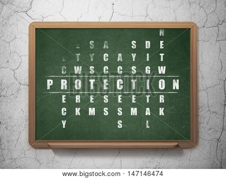 Safety concept: Painted White word Protection in solving Crossword Puzzle on School board background, 3D Rendering